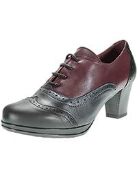 b91bf0e9 Zapato Abotinado Piel Tacón Ancho 6.5Cm y Cordones. Oxford para Mujer…
