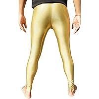 Holographic Gold Men's Leggings Meggings Men's Compression Tights Festival Pants EDM Clothing Hologram Glitter Clothes XS S M L XL XXL