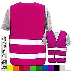 Hochwertige Warnweste mit Leuchtstreifen * Bedruckt mit Name Text Bild Logo Firma * personalisiertes Design selbst gestalten, Druckposition:OHNE Druck, Farbe Warnweste:Pink (M)