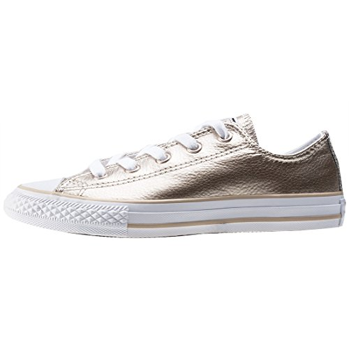 Converse Chuck Taylor All Star Metallic Junior Light Gold Leather Trainers Light Gold/White
