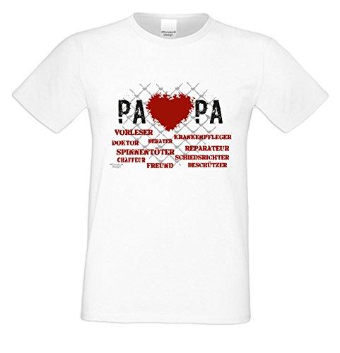 Geburtstagsgeschenk Papa Vater :-: Herren T-Shirt als Geschenkidee :-: Herz Papa :-: Übergrößen 3XL 4XL 5XL :-: Geschenk zum Geburtstag für Papa Farbe: weiss Weiß