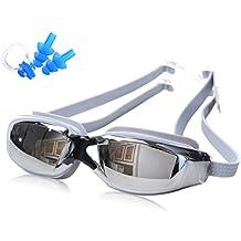 IKuaFly Gafas de Natación Profesional Anti Vaho UV Protección Lente Puente Nariz Cómodo - goggles swimming Buceo - Tapón de oído libre, clip de nariz, caja (gris)