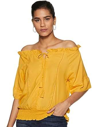 Krave Women Plain Regular fit Top AW18KRAVE_APURVI01 Mustard S