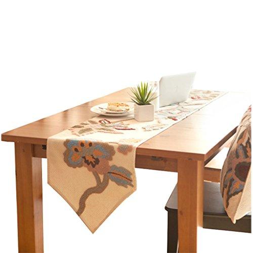 QiangZi Chemin De Table Peint À La Main Broderie Motif Floral Table Basse Tissu Salon Cuisine De Mariage Partie \