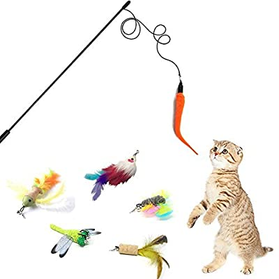9 Refills Cat Toys Interactive , Cat feather toy ,Cat Toy Train ,Best Cat Toy Mouse Butterfly Bird Dragonfly Worm Catcher for Indoor Cats Kitten Catnip