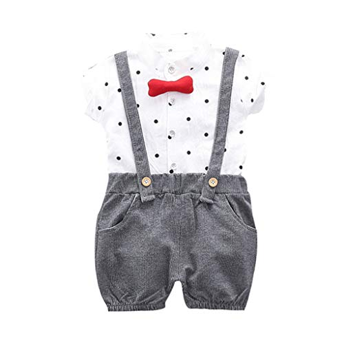 Cuteelf Baby Set Kind Baby Kind Junge Polka Dot Top festes T-Shirt Overall Shorts Set Kind Kurzarm Polka Dot Print Bogen T-Shirt Top + einfarbige Trägerhose Zweiteiliges Set (Blazer Dot Polka Herren)