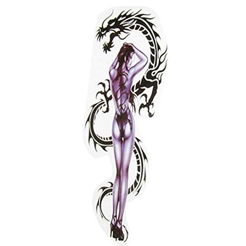sourcingmap® Voiture Décalcomanies PVC Autocollant Sexy Fille Dragon Courses