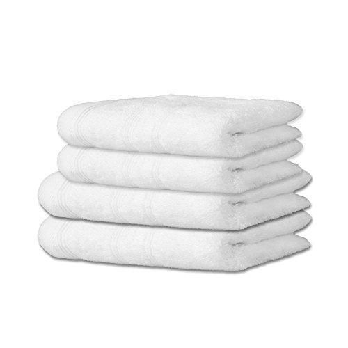Handtuch-Set 4-teilig | 10 Farben, viele Größen | 100% reine Baumwolle Frottee ca. 600g/m² | Set Inhalt 2x Saunatuch je 80 x 200 cm + 2x Duschtuch je 70 x 140 cm | CelinaTex Capri 0002562 | weiß