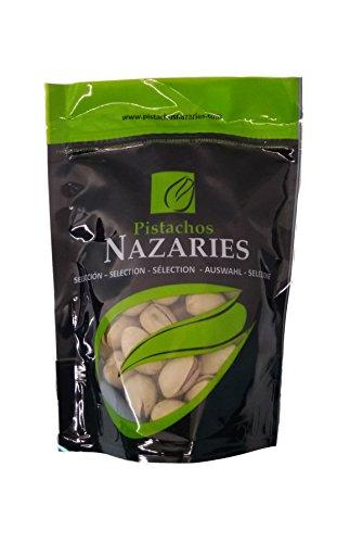 Pistazien Nazaries - Spanisch Pistazien hohe Qualität, sorgfältig ausgewählt und geröstet, knackig und gesalzen zu schmecken. (Packung mit 4 Beutel mit je 120 g).