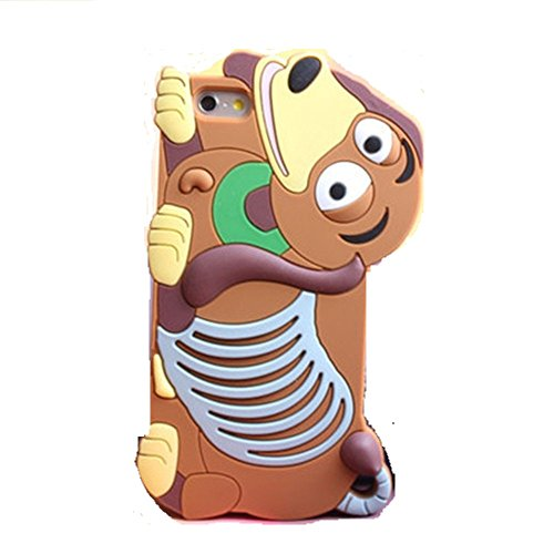 LliVEER 3D Süßer Cartoon Silikon Monster Tiger Catt Ruerbber Rückschale Hülle Für Apple iPhone - iPhone 6 Plus 14cm Slinky Dog (Plus Slinky)