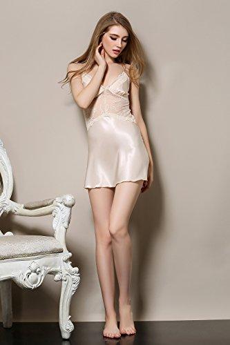 Rainbow Fox 2017 Nouveau sexy vêtement de nuit aux femmes vêtements de nuit sexy lingerie Creux Harnais dos nu conception Soie Satin Pur Couleur Champange