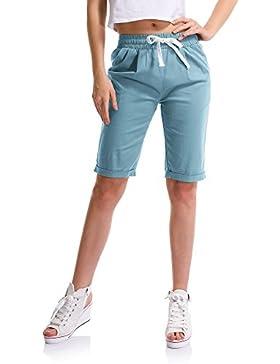 OCHENTA Mujeres Casual Cintura Elástica Rodilla de Longitud Salvaje Pantalones Cortos Con Cordón
