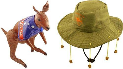 Erwachsene Australischer Hut mit korken & 70cm Aufblasbar Kangaroo (Kork Hut Kostüm)