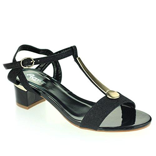 Femmes Dames Détail Orteil Ouvert Sangle de Cheville Fermeture à Boucle Talon Bloc Soir Casual Fête Des Sandales Chaussures Taille Noir