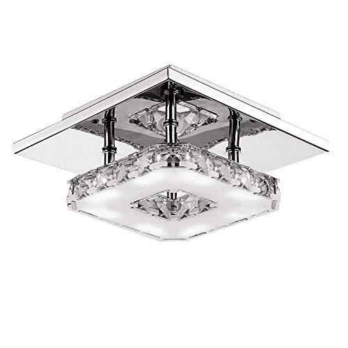 Fuloon Moderne LED Plafonnier Cristal Brillant Miroir Acier Inoxydable Luminaire Lustre Eclairage