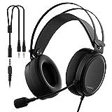 Leichte PS4 Xbox One Gaming Headset Stereo mit Mikrofon Mute 3,5 mm Kabel über Ohr Computer Kopfhörer Lautstärkeregler Flexible Stirnband für PC, Laptop, Tablet, Mac, Chat, Videokonferenz