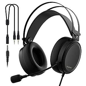 PS4Gaming Headset mit Haarband aus Stoff, 5,25FT Draht, Mikrofon Lautstärkeregler, Xbox One PC Stereo-Kopfhörer, InLine-Geräuschunterdrückung für PC, Laptop, Mac, Nintendo Schalter–3,5mm schwarz