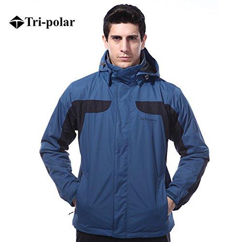 Tri-polar giubbotto uomo,Outdoor 3 in 1 Sportswear giacche termiche montagna traspirante impermeabile giacca antivento giubbini sci uomo giacca snowboard, Navy, L