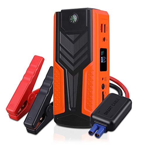 AWANFI Avviatore di Emergenza per Auto 18000mAh, Batteria Jump Starter Portatile 1200A 12V, Doppie Porte USB con Torcia a LED e Schermo a LCD, Colore Arancio