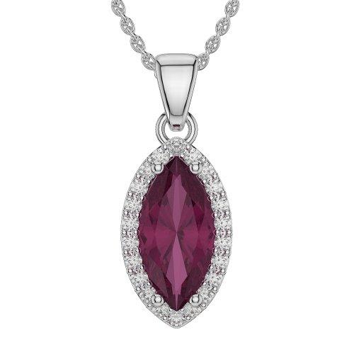 Or blanc/or/Rose/Jaune/Or/Platine forme marquise Rubis et Diamant Collier agdnc-1067-vsgh