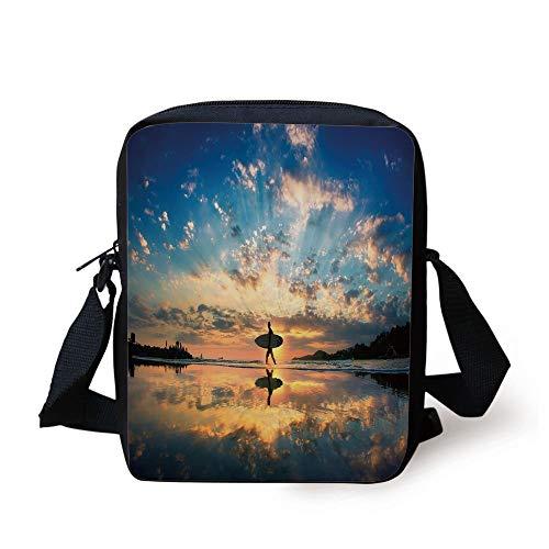 Ride The Wave,Surfer Walking Before Horizon with Cloudy Sky Coastal Charm Image,Violet Blue Sepia Print Kids Crossbody Messenger Bag Purse -
