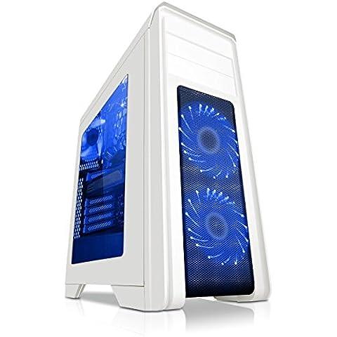 Game Max Falcon - Case per PC da gioco, con 2 ventole da 12 cm dotate di 16 LED a luce blu, colore: bianco