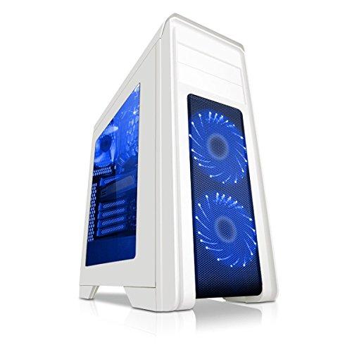 Game Max Falcon Gaming-PC-Gehäuse mit 2x 12cm Lüftern mit 16blauen LEDs–Weiß