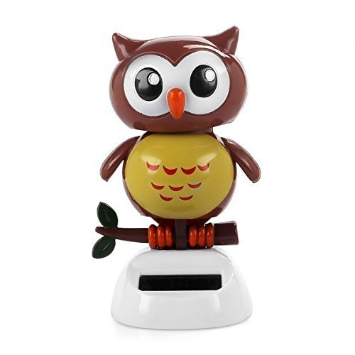 Price comparison product image Owl Ornament - SODIAL(R)Solar Powered Dancing bird Big Eye Brown Owl, Novelty Desk Car Toy Ornament