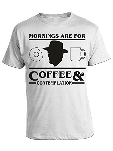 Tshirt Stranger Things - Mornings are for coffee and contemplation - Hopper- serie tv - st2 - in cotone Bianco