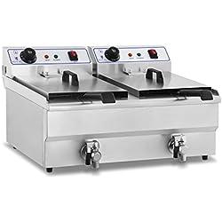 Royal Catering Double Friteuse Electrique Professionnelle 2x16L RCEF-16DH (2x3500W, 230V, avec robinet de vidange, 2 prises électriques, 100% acier inox)