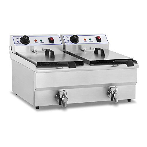 Royal Catering Freidora Electrica Profesional Doble RCEF-13DH (2x13L, 2x3200 W, 230V, Temperatura 60–200°C, Grifo de vaciado, Acero inoxidable)