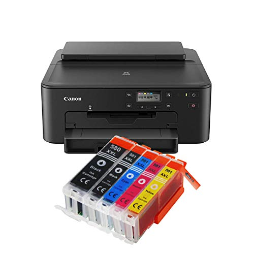 -705 All-in-One Farbtintenstrahl-Multifunktionsgerät (Drucker, USB, CD-Druck, WLAN, LAN, Apple AirPrint) Schwarz 5er Set IC-Office XXL Tintenpatronen ()