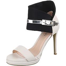Damen Schuhe, C18160, SANDALETTEN, HIGH HEELS PUMPS, Synthetik in hochwertiger Lederoptik , Schwarz Beige, Gr 38