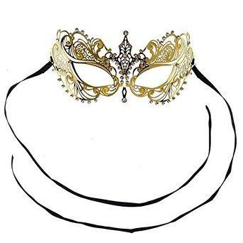 yiyo élégant Princesse LUXE découpé au laser Sexy Eyes strass Phantom en métal diamant Masque de mascarade Halloween pour Mardi Gras Parti cosplay-gold