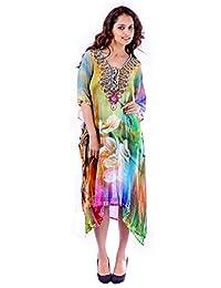 Bayside Barcelona Vestido de Kaftan de Fiesta de Estampado Digital Adornado con Cristal