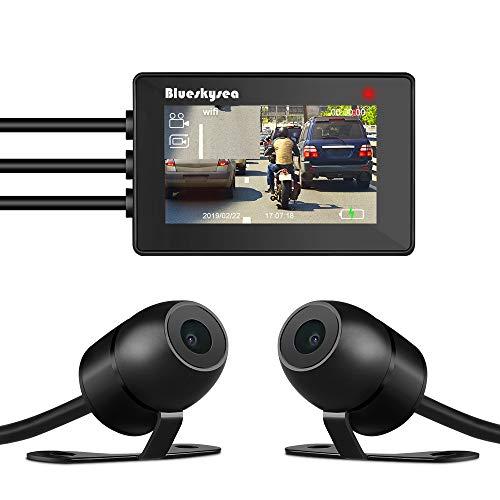 Blueskysea WiFi Motorräder Dash Cam Full HD 1080p Dual Kamera 110 °Winkel Motorrad DVR Nachtsicht Späteste Version