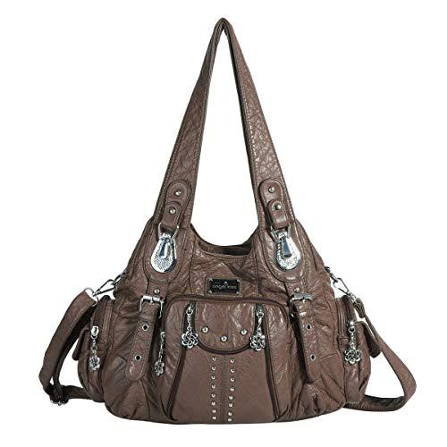 Tasche Braun Stoff Handtaschen (angel kiss Hobo Tasche Schultertaschen Handtaschen Umhängetaschen Henkeltaschen Fredsbruder Taschen Damen Weiches Leder (Kaffee))