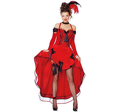 Sexy Saloon Girl Damen Kostüm mit Kleid in rot Gr. S - L, Größe:L (Cowboy Und Saloon Girl Kostüm)