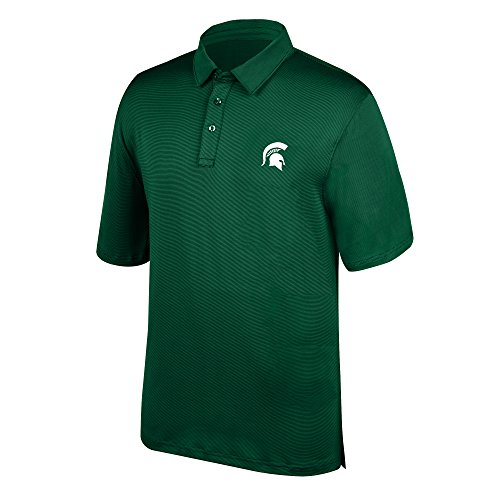 J America NCAA Men's Michigan State Spartans Yarn Dye Striped Team Polo Shirt, X-Large, Forest Green -