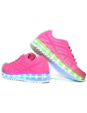 Usay like Envio 24 Horas Zapatillas LED con 7 Colores Luces Carga USB Rosa Niña Chica Mujer Unisex R Talla 36...