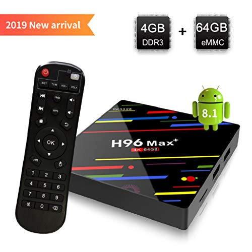 [Android 8.1 TV Box] H96 Max+ Smart TV Box 4GB+64GB RK3328 Quad Core 64Bit CPU Boîtier TV, 2019 Nouveau Set Top Box Support 4K Ultra HD 2.4G/5GHz WiFi 100M LAN 3D H.265 Bluetooth