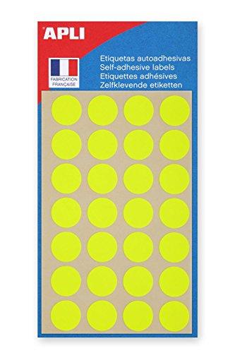AGIPA Lot de 3 Sachets de 140 étiquettes Gommettes de signalisation Rondes 15 mm Jaune Fluo