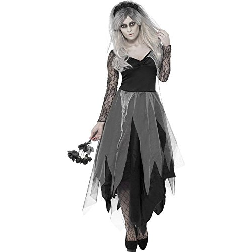 Halloween Damen Kostüm Geisterbraut Zombie Hexe mit Schleier -