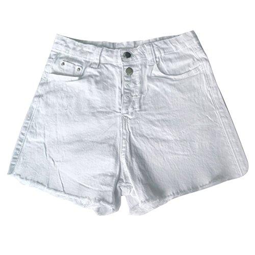 Deloito Neu Sommer Kurz Hotpants Damen Mode Jeans Shorts Sexy Taschen High Waist Denim Mini Hose mit Taschen (Weiß-B, Small)