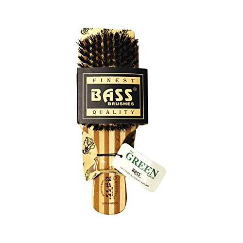 Bass Brushes Brush Classic Men's Club Style 100% Wild Boar Bristles Light Wood Handle by Bass Brushes