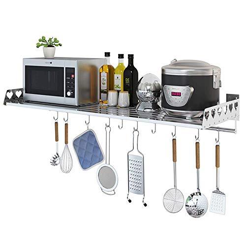 DCCER Una Sola Capa con Rejilla de Horno con Gancho, Rejilla de Cocina montada en la Pared, Rejilla de Almacenamiento multifunción de Acero Inoxidable, Rejilla de condimento (Tamaño : 60X30X12.5CM)