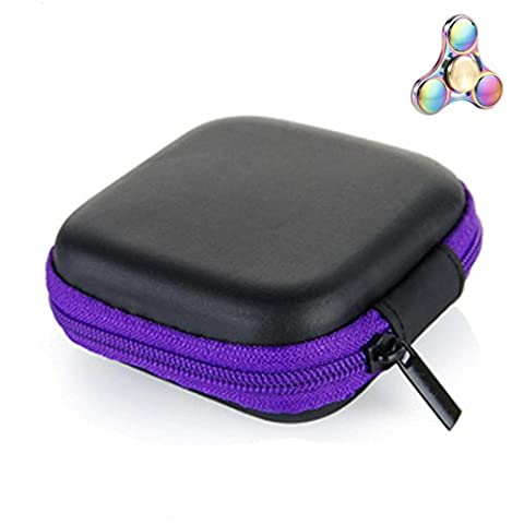 OverDose,Gift For Fidget Hand Spinner Triangle Finger Toy Focus ADHD Autism Data Earphone Cable Earphone Headphone Bag Box Carry Case Packet (7*7*2.8cm, Violet)