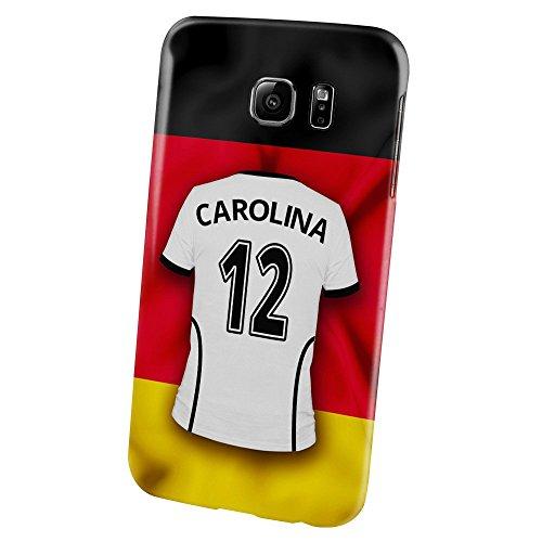 PhotoFancy Samsung Galaxy S6 Handyhülle Premium – Personalisierte Hülle mit Namen Carolina – Case mit Design Fußball-Trikot Deutschland zur WM in Russland 2018