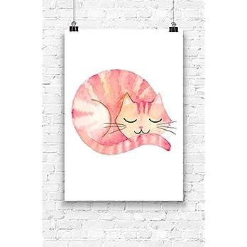 Print Wandbild Poster Bild Wanddeko schlafende Katze OHNE RAHMEN Format A4