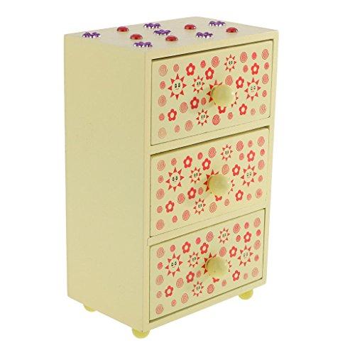 ELECTROPRIME 3-Drawer Wooden Storage Box Case Desktop Drawer Organiser Art Supply Yellow